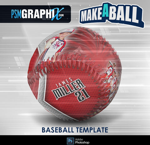 Spirit - V.1 - Baseball - Make-A-Ball Photoshop Template-Photoshop Template - PSMGraphix