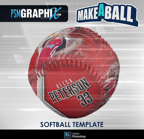 Spirit - V.1 - Softball - Make-A-Ball Photoshop Template-Photoshop Template - PSMGraphix