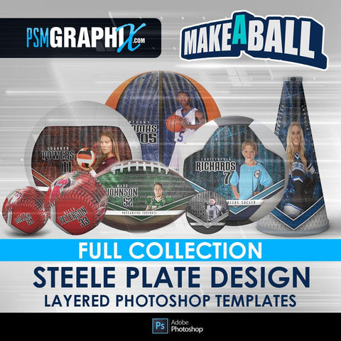 Steel Plate - V.1 - Make-A-Ball Full Template Collection-Photoshop Template - PSMGraphix