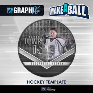 Steel Plate - V.1 - Hockey Puck - Make-A-Ball Photoshop Template-Photoshop Template - PSMGraphix