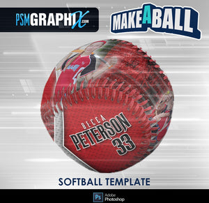 Steel Plate - V.1 - Softball - Make-A-Ball Photoshop Template-Photoshop Template - PSMGraphix