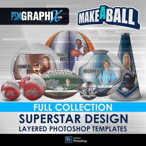 Superstar - V.1 - Make-A-Ball Full Template Collection-Photoshop Template - PSMGraphix