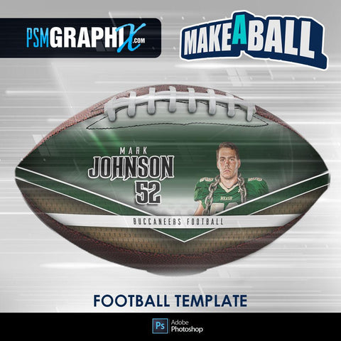 Superstar - V.1 - Football (Full Size)  - Make-A-Ball Photoshop Template-Photoshop Template - PSMGraphix
