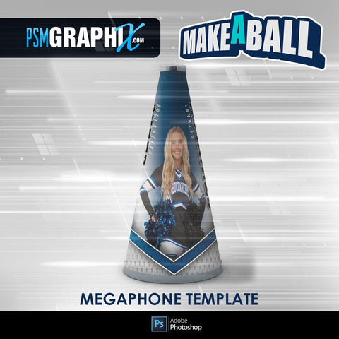 Superstar - V.1 - Cheer Megaphone - Make-A-Ball Photoshop Template-Photoshop Template - PSMGraphix