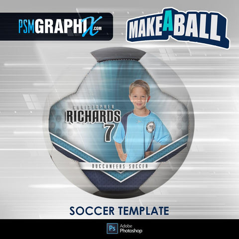 Superstar - V.1 - Soccer Ball (Full Size)  - Make-A-Ball Photoshop Template-Photoshop Template - PSMGraphix