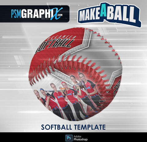 Superstar - V.1 - Softball - Make-A-Ball Photoshop Template-Photoshop Template - PSMGraphix