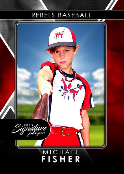 Signature Player - Baseball - V2 - Drop-In Trading Card Template-Photoshop Template - Photo Solutions