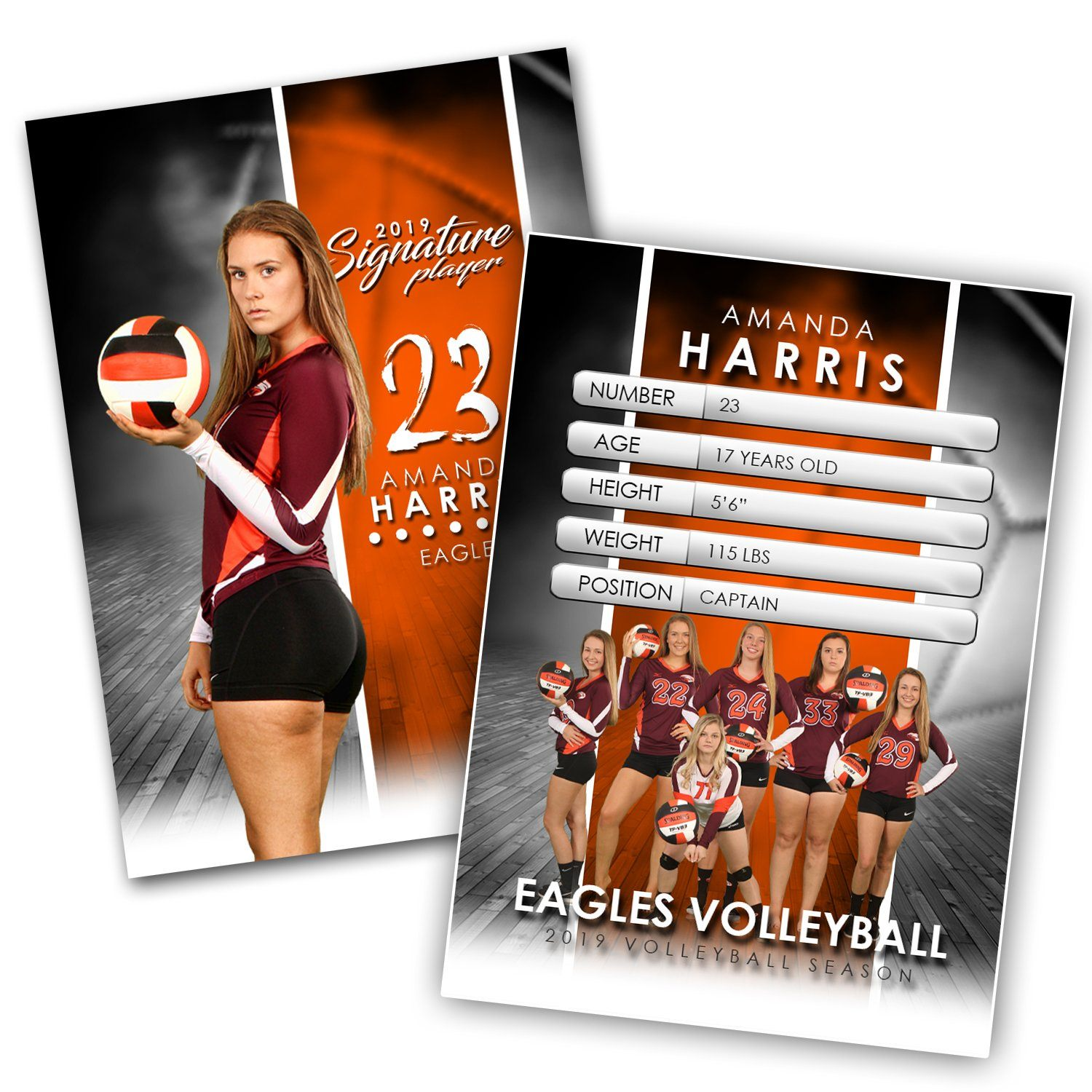 Signature Player - Volleyball - V1 - Extraction Trading Card Template-Photoshop Template - Photo Solutions