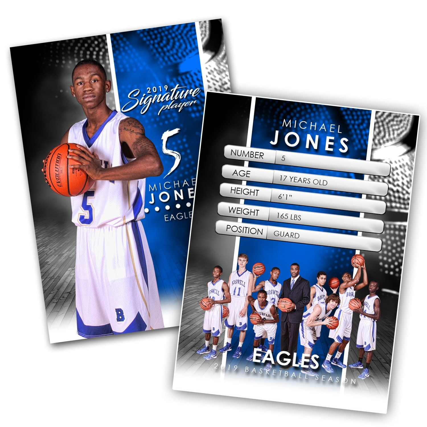 Signature Player - Basketball - V1 - Extraction Trading Card Template-Photoshop Template - Photo Solutions