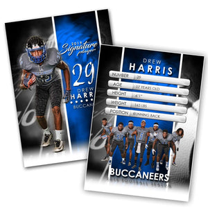 Signature Player - Football - V1 - Extraction Trading Card Template-Photoshop Template - Photo Solutions