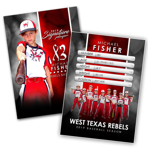 Signature Player - Baseball - V1 - Extraction Trading Card Template-Photoshop Template - Photo Solutions