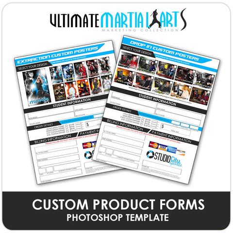 Custom Product Order Forms - Ultimate Martial Arts Marketing Downloadable Template Photo Solutions PSMGraphix