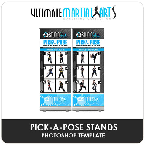 Pick-A-Pose Banner Stands - Ultimate Martial Arts Marketing Downloadable Template Photo Solutions PSMGraphix