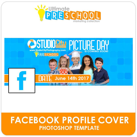 Facebook Cover Template - Ultimate PreSchool Marketing Photoshop Template -  PSMGraphix