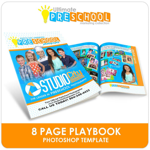 8 Page Photo Day Playbook - Ultimate PreSchool Marketing Photoshop Template -  PSMGraphix