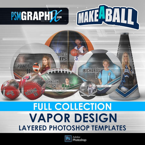Vapor - V.1 - Make-A-Ball Full Template Collection-Photoshop Template - PSMGraphix