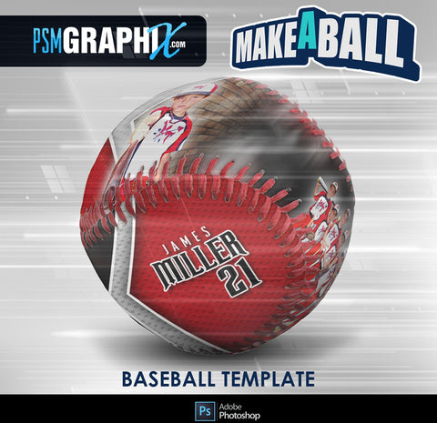 Vapor - V.1 - Baseball - Make-A-Ball Photoshop Template-Photoshop Template - PSMGraphix