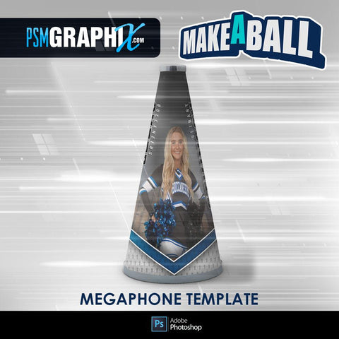 Vapor - V.1 - Cheer Megaphone - Make-A-Ball Photoshop Template-Photoshop Template - PSMGraphix