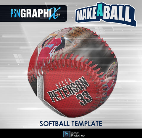 Vapor - V.1 - Softball - Make-A-Ball Photoshop Template-Photoshop Template - PSMGraphix