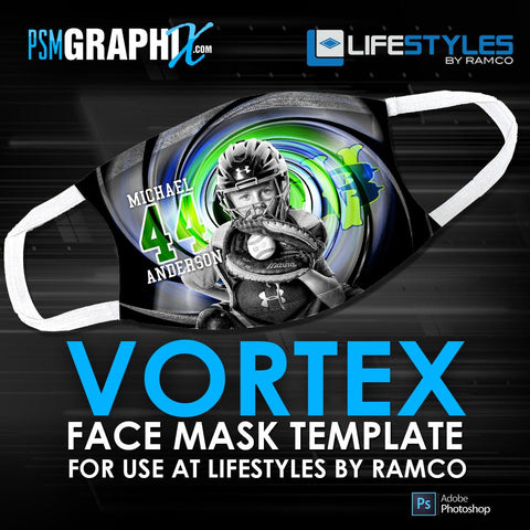 Vortex - Face Mask Template (Ramco)-Photoshop Template - PSMGraphix