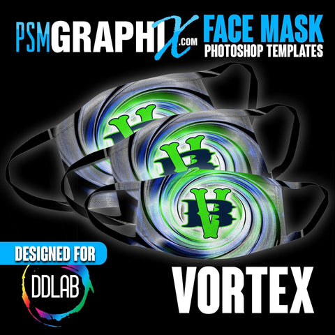 Vortex - Face Mask Template Set (DDLAB) 3 Sizes-Photoshop Template - PSMGraphix