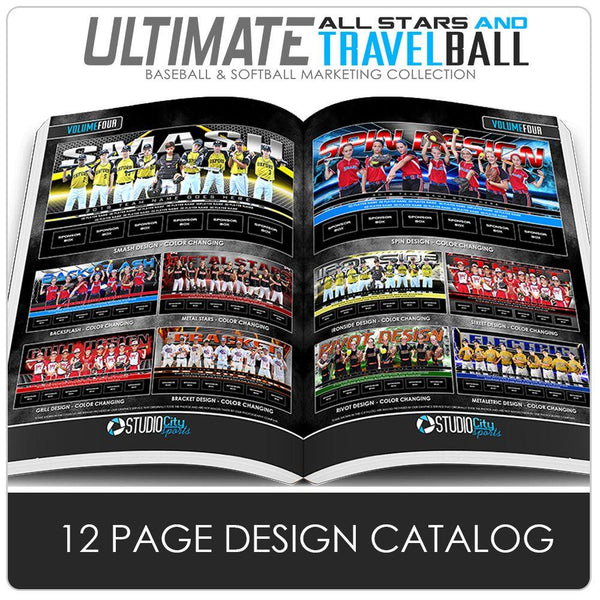 12 Page Field Banner Catalog - Ultimate All-Star & Travel Ball Marketing Downloadable Template Photo Solutions PSMGraphix