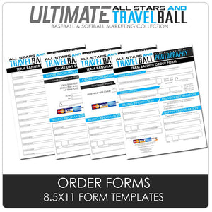 8.5x11 Custom Product Order Forms - Ultimate All-Star & Travel Ball Marketing Downloadable Template Photo Solutions PSMGraphix
