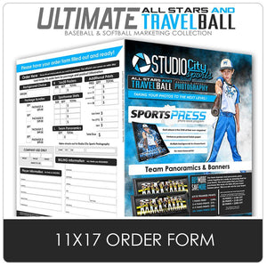 11x17 Photo Day Order Form - Ultimate All-Star & Travel Ball Marketing-Photoshop Template - Photo Solutions