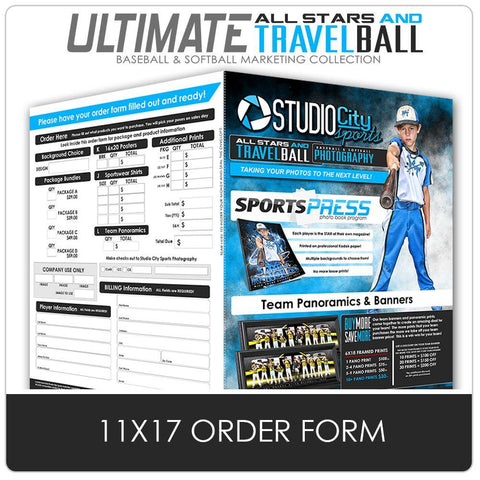 11x17 Photo Day Order Form - Ultimate All-Star & Travel Ball Marketing Photoshop Template -  PSMGraphix