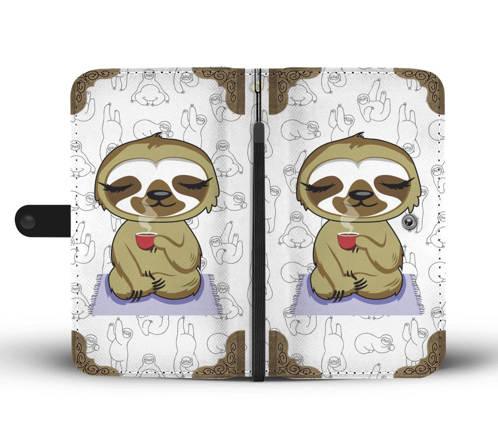 official photos 7e632 508ce Yoga Sloth with Coffee Design Wallet Phone Case - FREE SHIPPING ...