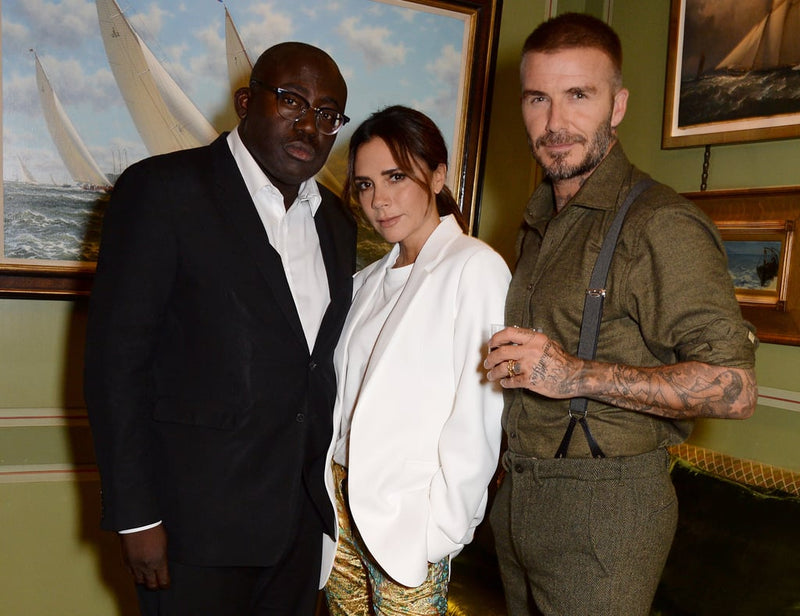 Edward Enninful and Victoria and David Beckham at London Fashion Week