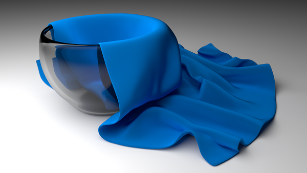 Blue fabric in a bowel