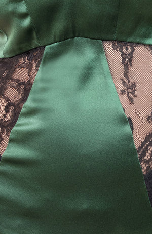 Closeup of satin and lace panels for the Sarah Chemise in green and black