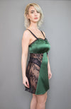 Sarah Chemise in green and black made of silk satin and lace