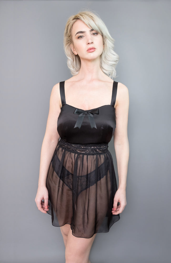 Josephine Babydoll in black made of silk satin and silk chiffon