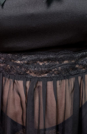 Closeup of the lace for the Josephine Babydoll in black