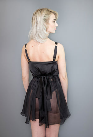 Josephine Babydoll in black with silk satin waist tie