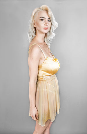 Josephine Babydoll in gold made of silk satin and silk chiffon