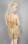 Josephine Babydoll in gold with silk satin waist tie
