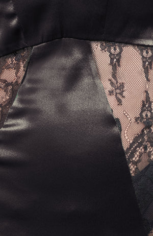 Closeup of satin and lace panels for the Sarah Chemise in black