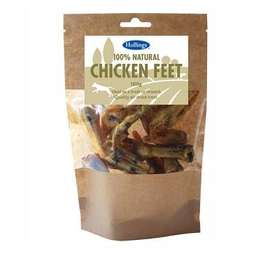 Hollings 100% Natural Chicken Feet, 100g - Jacks Pet and Country