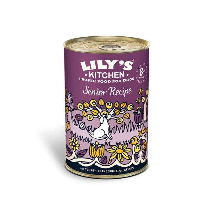 Lily's Kitchen Senior Recipe Tins older dog wet dog food (Various Sizes) turkey cranberry parsnips - Jacks Pet and Country
