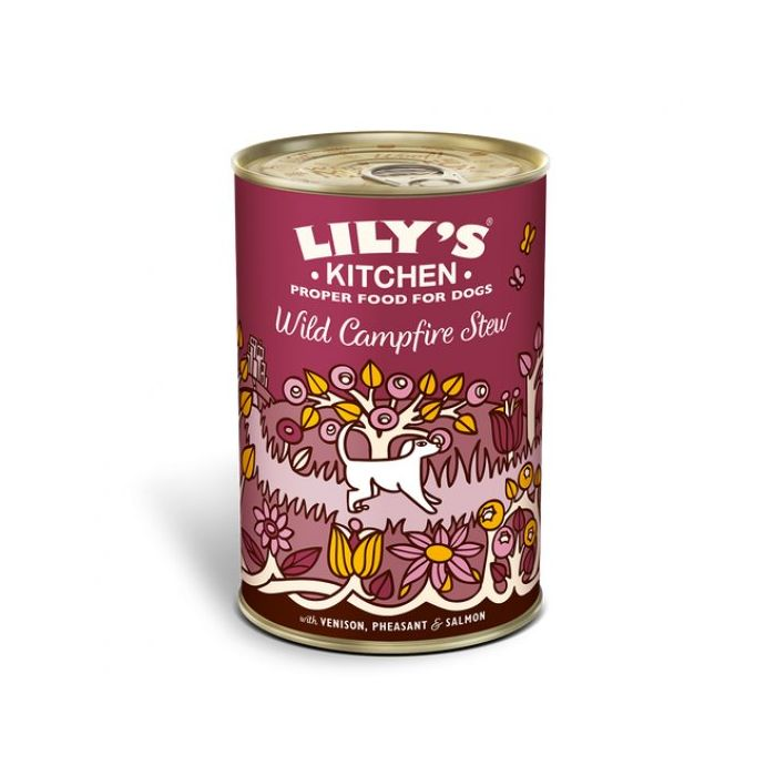 Lily's Kitchen Wild Campfire Stew Tins (Various Sizes) venison pheasant and salmon healthy nutritious dog food wet dog feed - Jacks Pet and Country