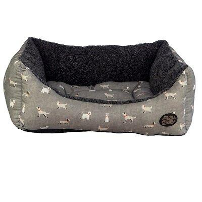 Snug & Cosy Townsend Grey Dog Bed grey stylish patterned (91cm) - Jacks Pet and Country