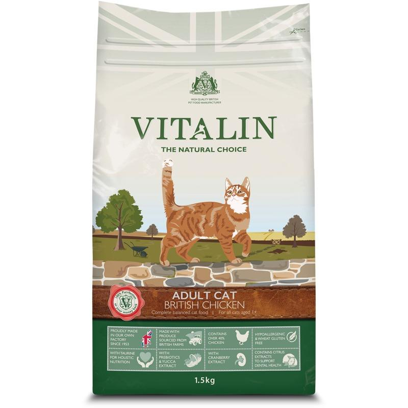 Vitalin British Chicken Adult Cat Food 1.5kg - Jacks Pet and Country