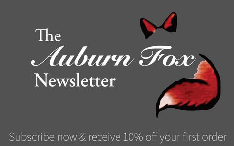Auburn Fox Newsletter. Subscribe for 10% off your first order. Banner.
