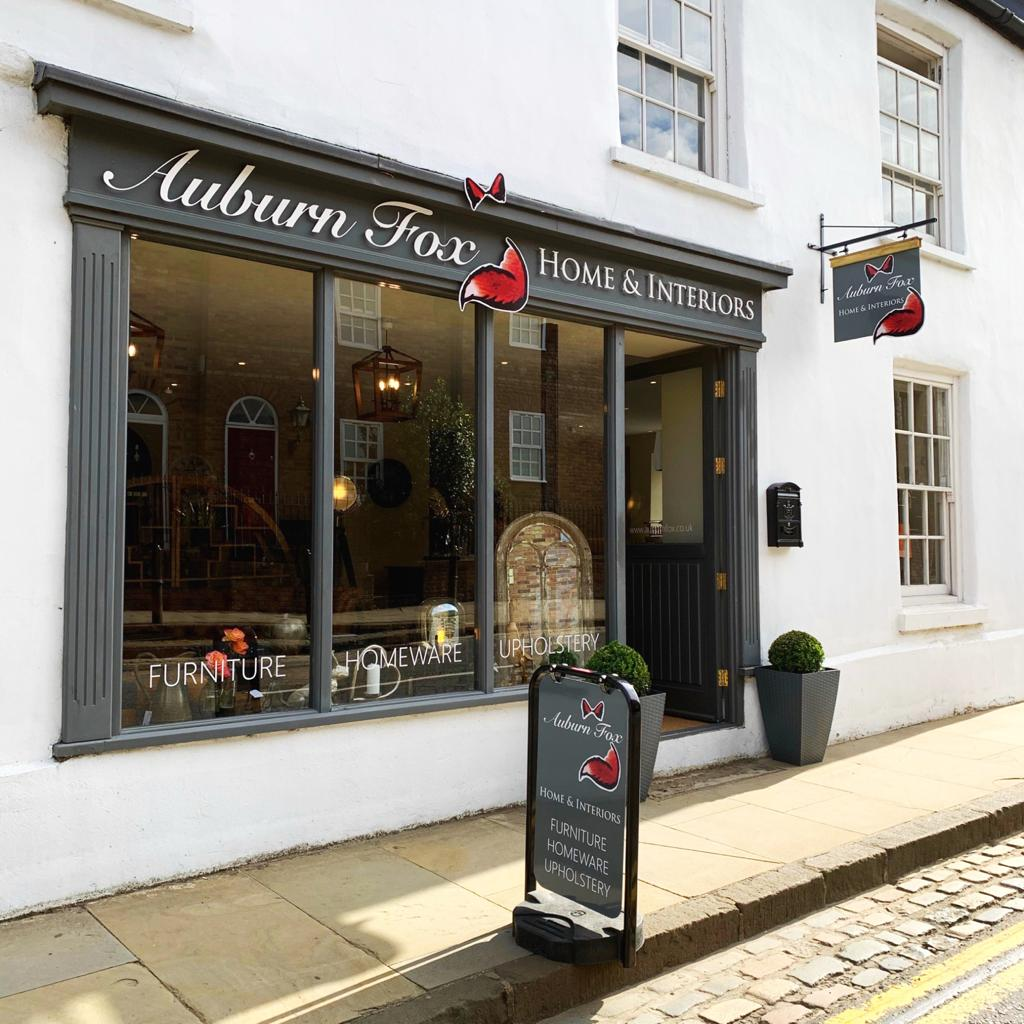 Auburn Fox Home & Interiors showroom frontage. 73-75 Thrapston High Street.