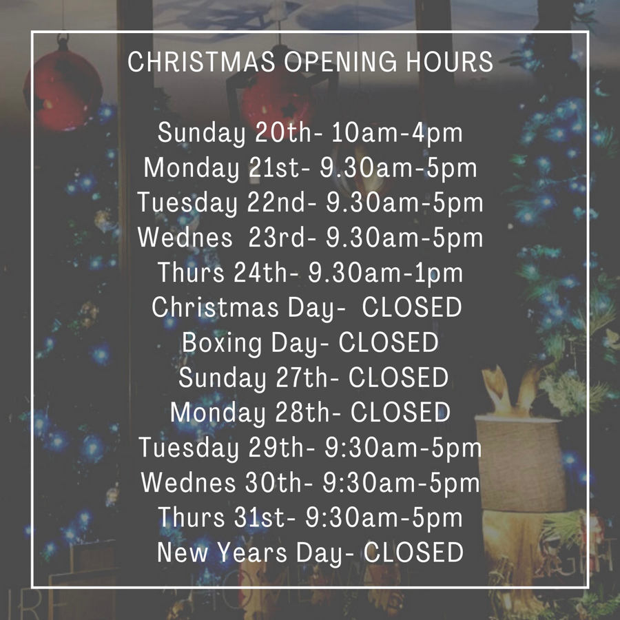 Auburn Fox Showroom Christmas Opening Times.
