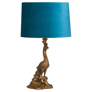 Antique Gold Peacock Lamp With Teal Velvet Shade.