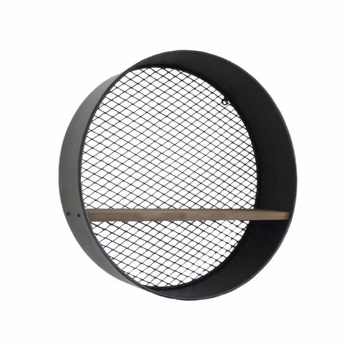 Circular Metal Wall Shelf made of metal with mesh back and a wooden shelf.